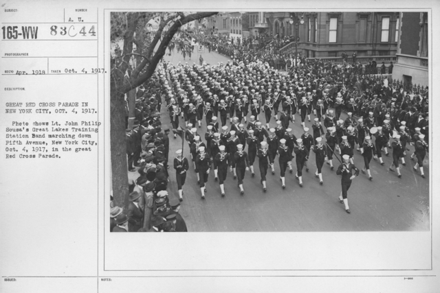 Ceremonies - New York - Great Red Cross Parade in New York City, Oct. 4, 1917. Photo shows Lt. John Philip Sousa's Great Lakes Training Station Band marching down Fifth Avenue, New York City, Oct. 4, 1917, in the great Red Cross Parade