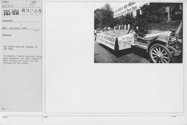 Ceremonies - New York - Red Cross Campaign parades in New  York. Thousands of motors cars and trucks were decorated and kept covered with bunting and flags for the duration of the drive