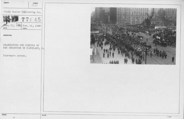 Ceremonies - Ohio - Celebrating the signing of the armistice in Cleveland, O. Impromptu parade