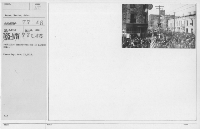 Ceremonies - Ohio - Patriotic demonstrations in Marion Ohio. Peace Day, Nov. 11, 1918