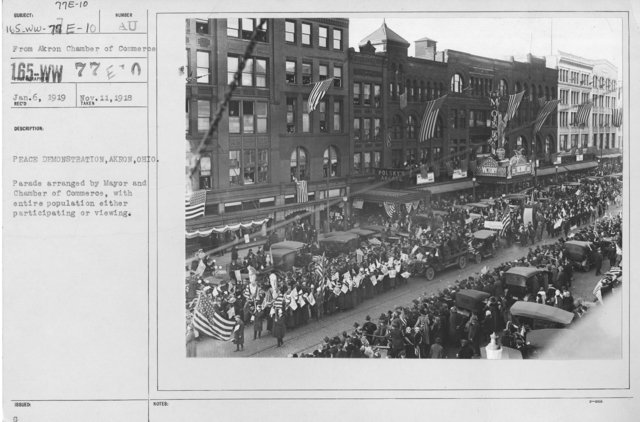 Ceremonies - Ohio - Peace demonstration, Akron, Ohio. Parade arranged by Mayor and Chamber of Commerce, with entire populatio either participating or viewing