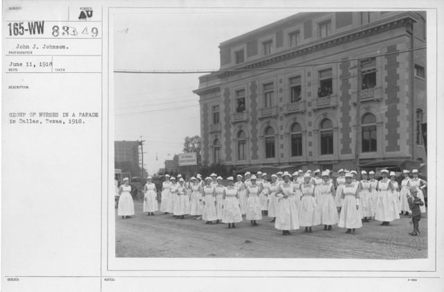 Ceremonies - Ohio thru Wisconsin - Group of nurses in a parade in Dallas, Texas, 1918