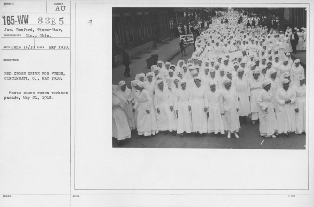 Ceremonies - Ohio thru Wisconsin - Red Cross Drive for fudns, Cincinnati, O., May 1918. Photo shows women workers parade, May 21, 1918