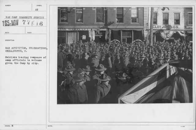 Ceremonies - Ohio - War Activities, celebrations, Chillicothe, O. Soldiers hearing response of camp officials to welcome given the Camp by city