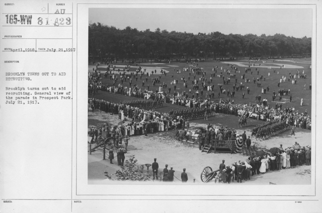 Ceremonies - Preparedness Day, May 1916 - Brooklyn turns out to aid recruiting. Brooklyn turns out to aid recruiting. General view of the parade in prospect Park. July 21, 1917