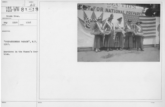 "Ceremonies - Preparedness Day, May 1916 - ""Preparedness Parade"" New York, 1916. Marchers in the Women's Section"