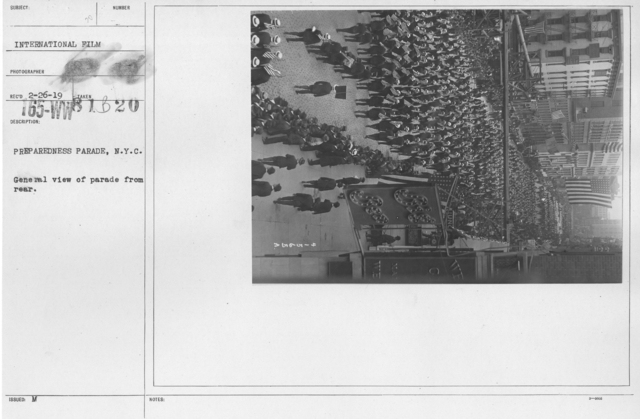 Ceremonies - Preparedness Day, May 1916 - Preparedness Parade, N.Y.C. General view of parade from rear