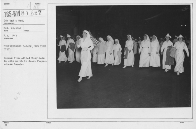 Ceremonies - Preparedness Day, May 1916 - Prepareness Parade, New York City. Nurses from Allied Hospitals in city march in Great Preparedness Parade