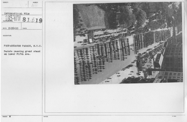 Ceremonies - Preparedness Day, May 1916 - Prepareness Parade, N.Y.C. Parade passing grand stand on lower Fifth Ave