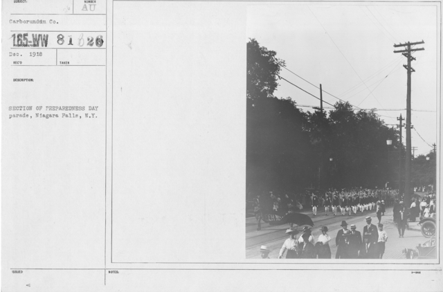 Ceremonies - Preparedness Day, May 1916 - Section of Preparedness Day parade, Niagara Falls, N.Y