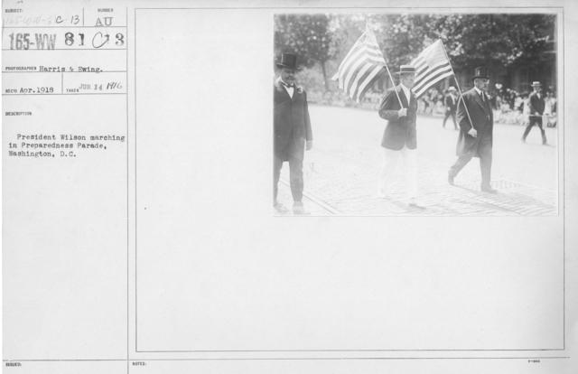 Ceremonies - Preparedness Day, Washington, D.C. - President Wilson marching in Preparedness Parade, Washington, D.C