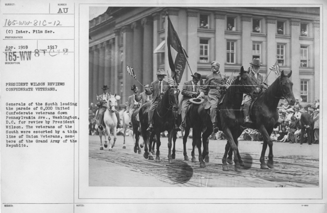 Ceremonies - Preparedness Day, Washington, D.C. - President Wilson reviews Confederate veterans. Generals of the South leading the parade of 8,000 United Confederate veterans down Pennsylvania Ave., Washington, D.C. for review by President Wilson. The veterans of the South were escorted by a thin line of Union Veterans, members of the Grand Army of the Republic
