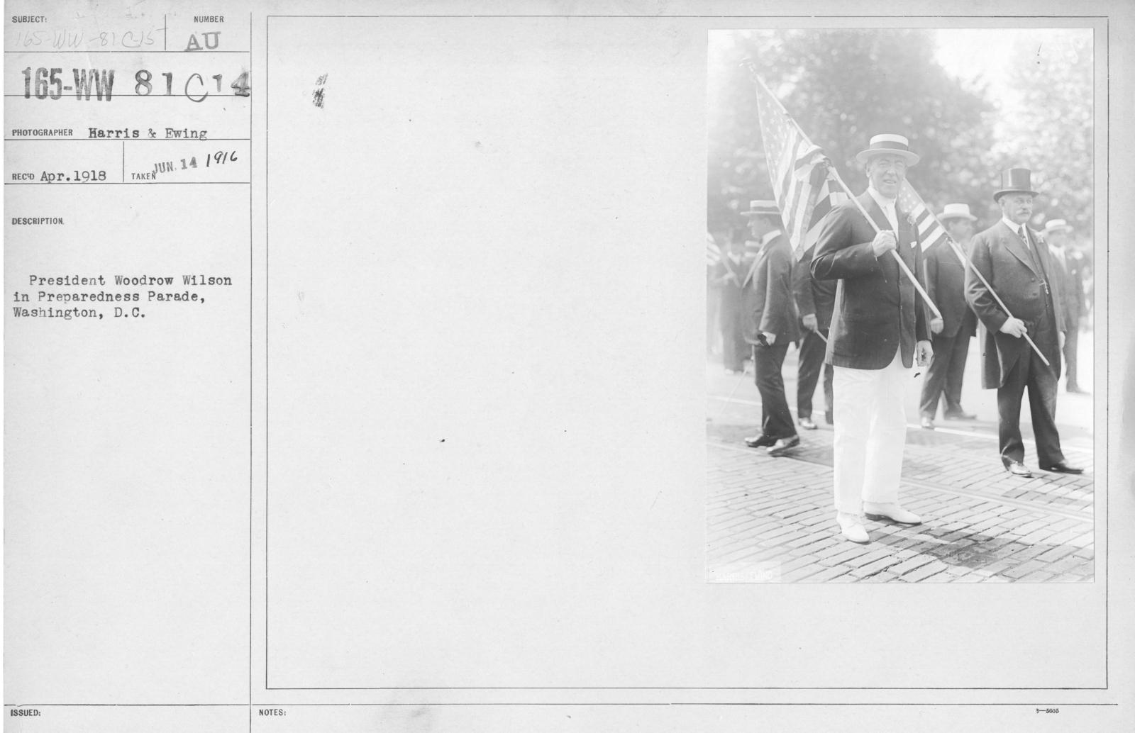 Ceremonies - Preparedness Day, Washington, D.C. - President Woodrow Wilson in Preparedness Parade, Washington, D.C