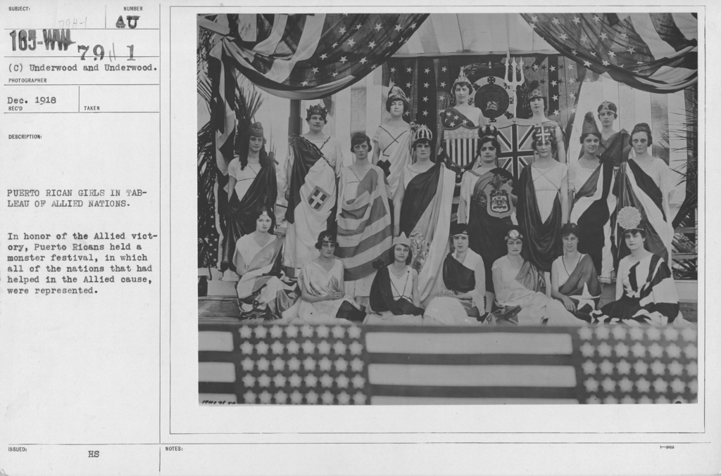 Ceremonies - Puerto Rico - Puerto Rican girls in Tableau of Allied Nations. In honor of the Allied victory, Puerto Ricans held a monster festival, in which all of the nations that had helped in the Allied cause, were represented