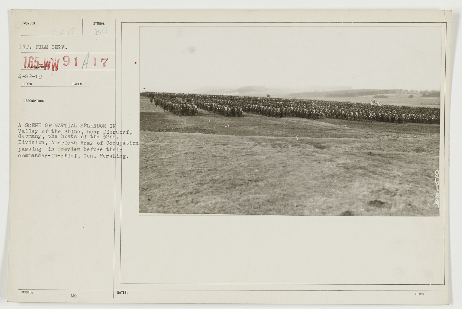 Ceremonies - Review in Theatre of Operations - American Troops - A scene of martial splendor in Valley of the Rhine, near Dierdorf, Germany, the hosts of the 32nd Division
