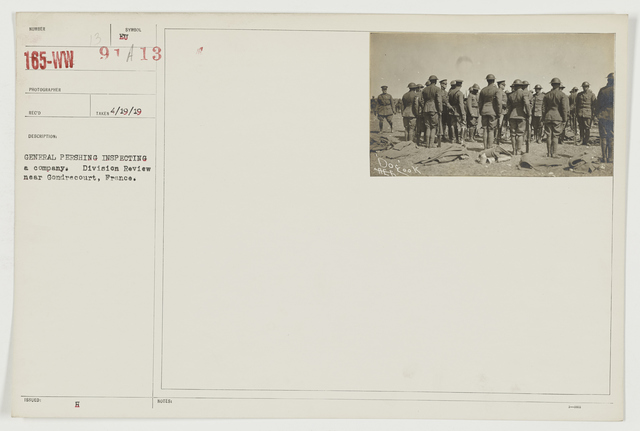 Ceremonies - Review in Theatre of Operations - American Troops - General Pershing inspecting a company.  Division Review near Gondrecourt, France
