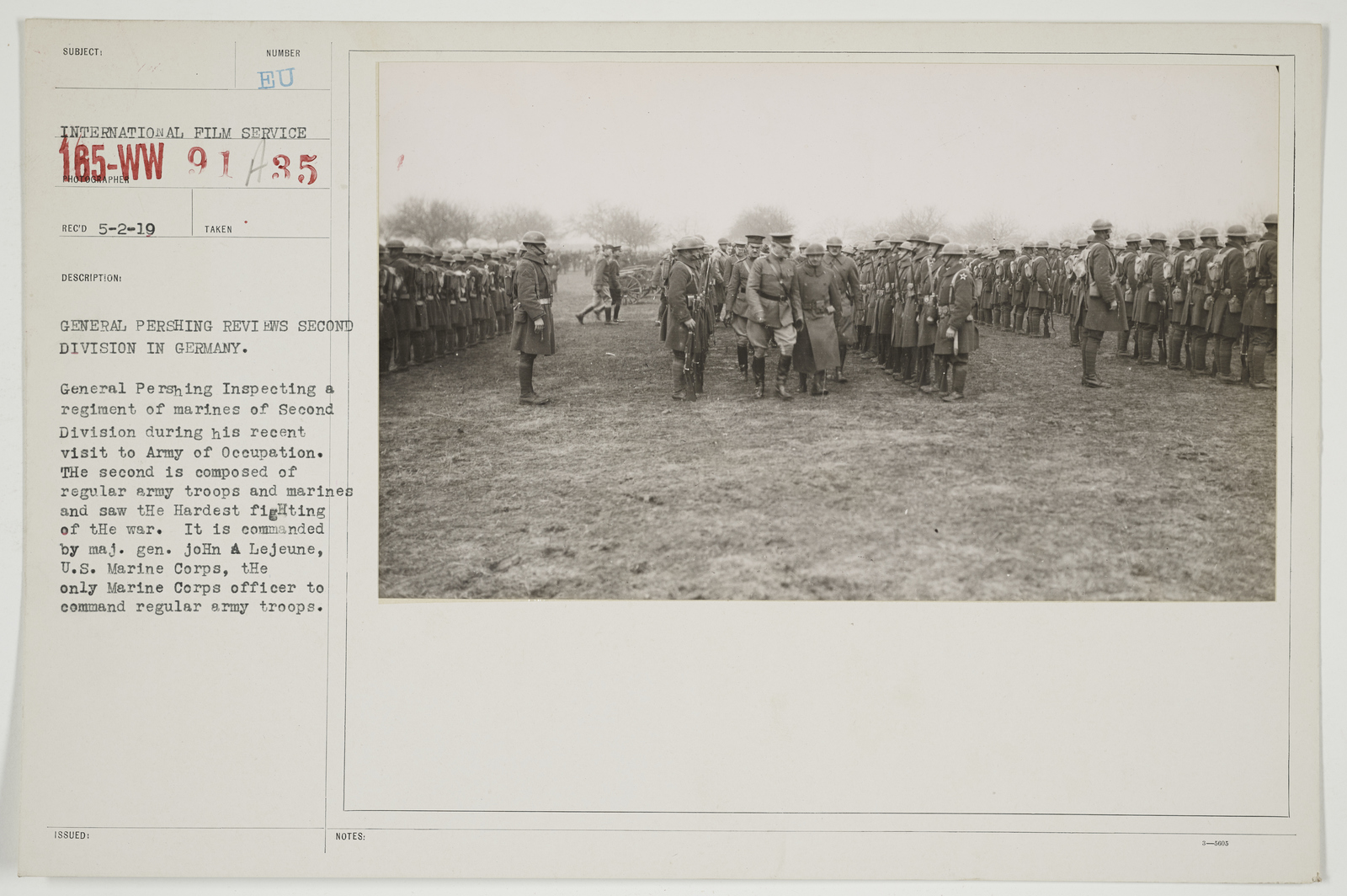 Ceremonies - Review in Theatre of Operations - American Troops - General Pershing reviews Second Division in Germany