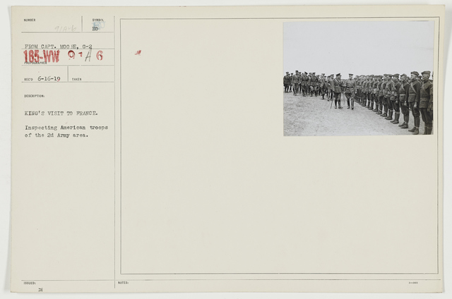Ceremonies - Review in Theatre of Operations - American Troops - King's visit to France.  Inspecting American troops in the 2nd Army area
