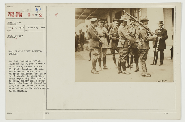 Ceremonies - Review in Theatre of Operations - American Troops - U.S. troops visit Toronto, Canada