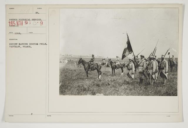 Ceremonies - Review in Theatre of Operations - French Army - Review passing General Pelle.  Vautelet, France