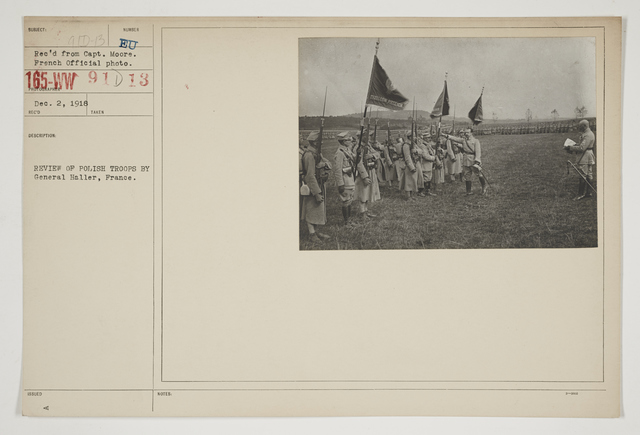 Ceremonies - Review in Theatre of Operations - Italian Army and Miscellaneous Reviews - Review of Polish Troops by General Haller, France