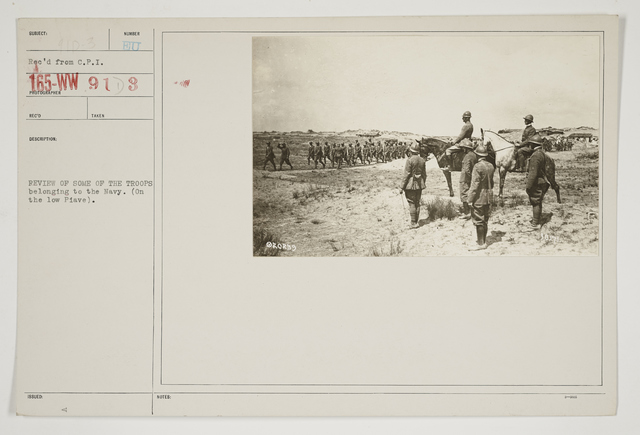 Ceremonies - Review in Theatre of Operations - Italian Army and Miscellaneous Reviews - Review of some of the troops belonging to the Navy.  (On the low Piave.)