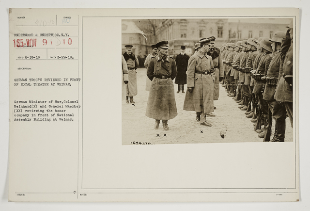 Ceremonies - Review in Theatre of Operations - Italian Army and Miscellaneous Reviews - German troops reviewing in front of Royal Theater at Weimar