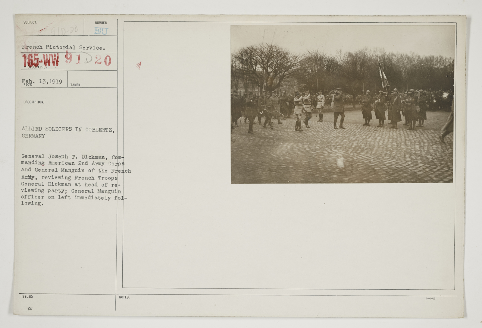 Ceremonies - Review in Theatre of Operations - Italian Army and Miscellaneous Reviews - Allied soldiers in Coblentz, Germany