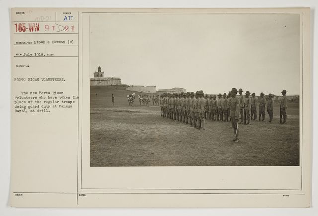 Ceremonies - Review in Theatre of Operations - Italian Army and Miscellaneous Reviews - Peurto Rican volunteers.  The Puerto Rican volunteers who have taken the place of the regular troops doing guard duty at Panama Canal, at drill