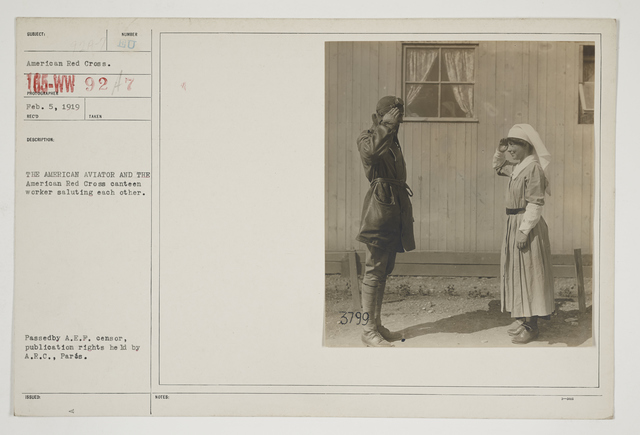 Ceremonies - Salutes and Parades - American Miscellaneous - The American Aviator and the American Red Cross Canteen Worker saluting each other