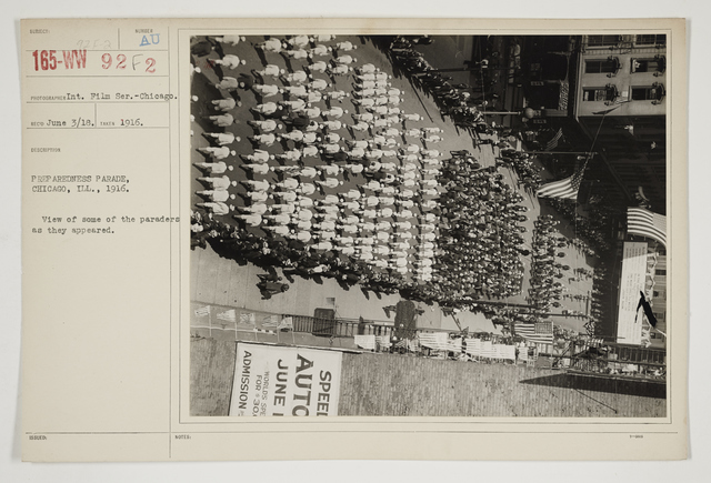 Ceremonies - Salutes and Parades - Illinois - Preparedness Parade, Chicago, Illinois, 1916.  View of some of the paraders as they appeared