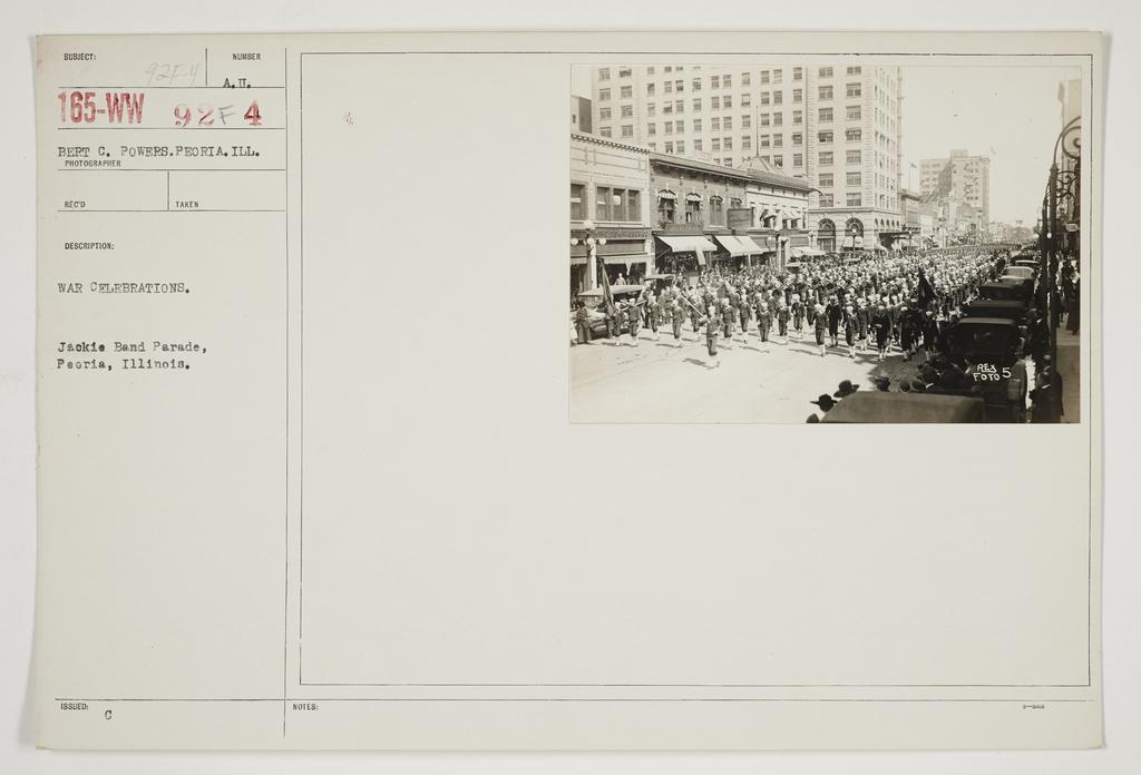 Ceremonies - Salutes and Parades - Illinois - War celebrations.  Section, Jackie Band Parade, Peoria, Illinois
