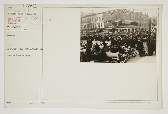 Ceremonies - Salutes and Parades - Indiana - La Porte, Inc., war activities.  Liberty Loan Parade