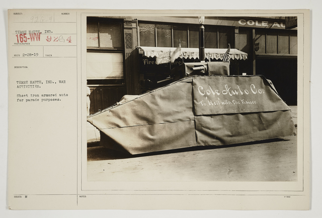 Ceremonies - Salutes and Parades - Indiana - Terre Haute, Indiana, war activities.  Sheet iron armored auto for parade purposes