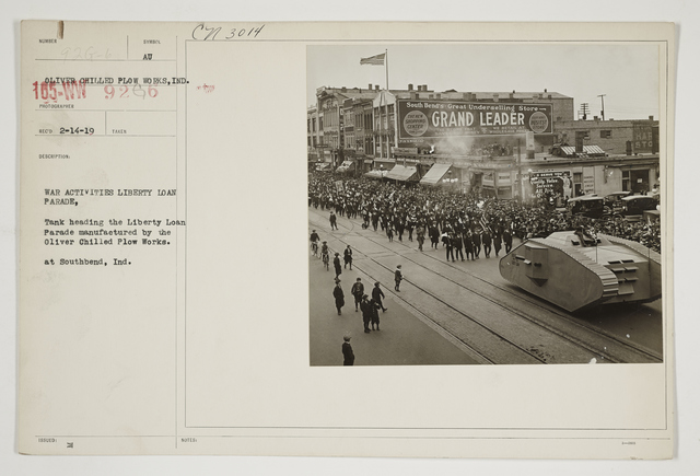 Ceremonies - Salutes and Parades - Indiana - War activities Liberty Loan Parade.  Tank leading the Liberty Loan Parade manufactured by the Oliver Chilled Plow Works at South Bend, Indiana