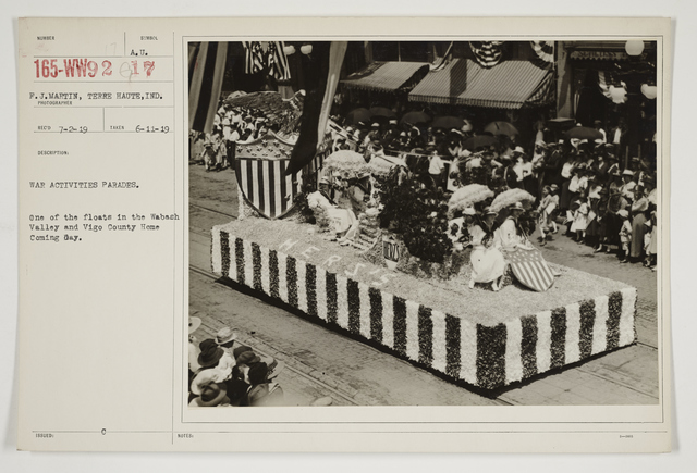 Ceremonies - Salutes and Parades - Indiana - War activities parades.  1 of the floats in the Wabach Valley and Vigo County Home-Coming Day