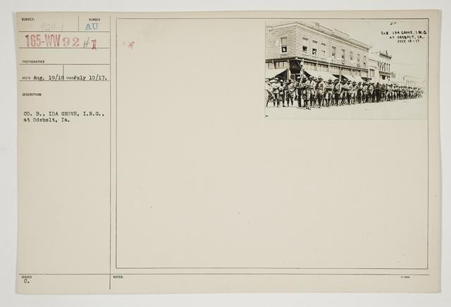 Ceremonies - Salutes and Parades - Iowa - Company B., Ida Grove, I.N.G., at Odebolt, Iowa