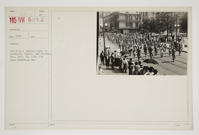 Ceremonies - Salutes and Parades - Louisiana - Soldiers & Sailors march to Lafayette Square, New Orleans, Louisiana, September 12, 1918, War Camp Community Day