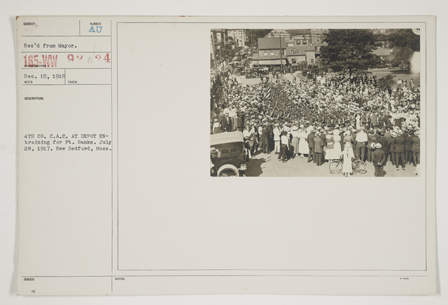 Ceremonies - Salutes and Parades - Massachusetts - 4th Co. C.A.C. at depot entraining for Fort Banks.  July 28, 1917.  New Bedford, Massachusetts