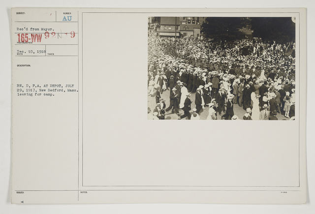 Ceremonies - Salutes and Parades - Massachusetts - BN. D, F. A. at depot, July 29, 1917, New Bedford, Massachusetts. Leaving for camp