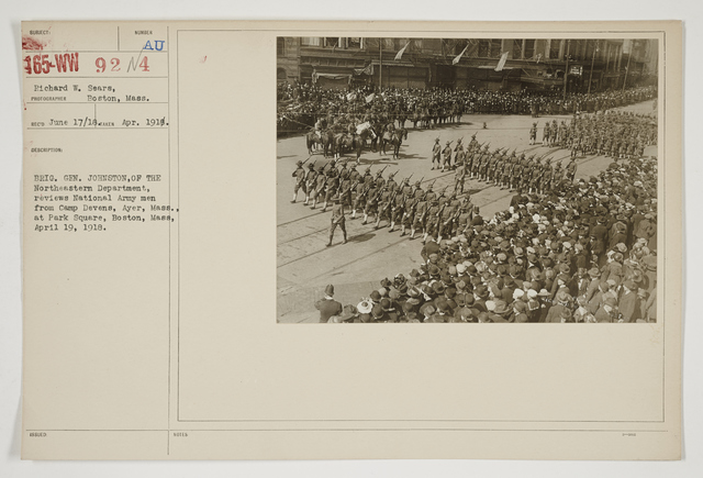 Ceremonies - Salutes and Parades - Massachusetts - Brigadier General Johnston, of the Northeastern Department, reviews National Army men from Camp Devens, Ayer, Massachusetts, at Park Square, Boston, Massachusetts, April 19, 1918