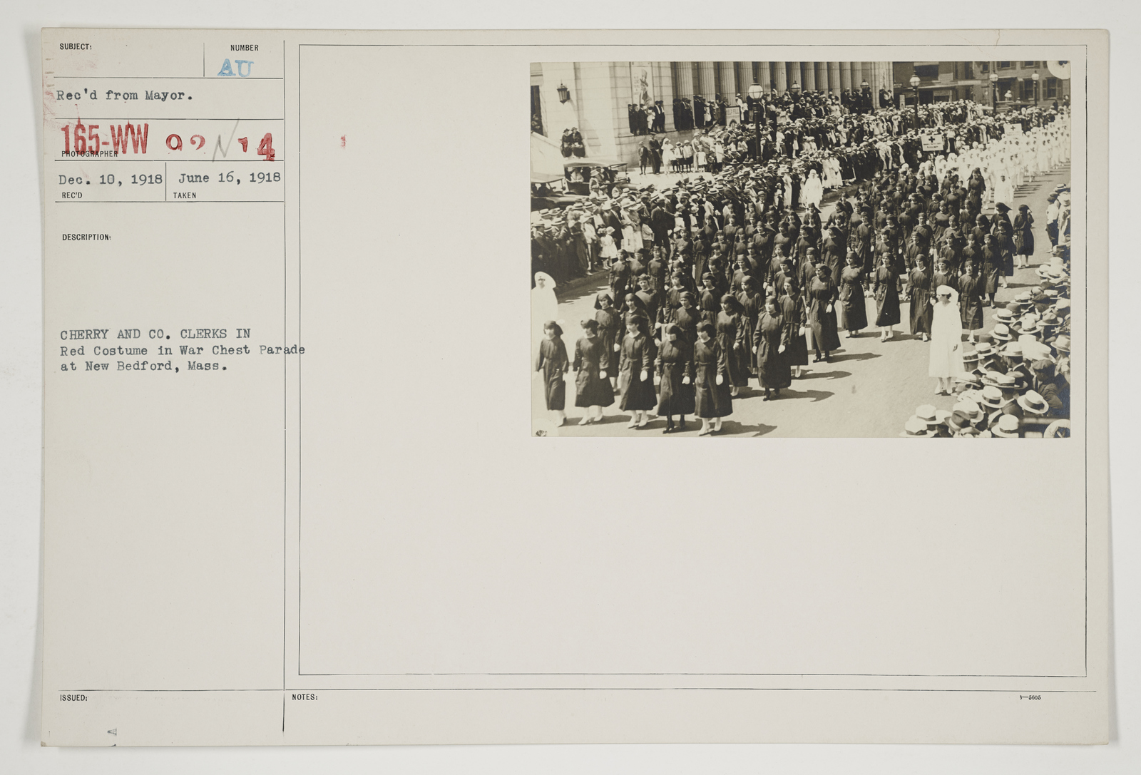Ceremonies - Salutes and Parades - Massachusetts - Cherry and Co. clerks in Red Costume in War Chest Parade at New Bedford, Massachusetts