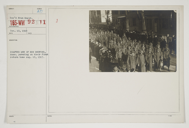 Ceremonies - Salutes and Parades - Massachusetts - Drafted men of New Bedford, Massachusetts. Parading on their first return home August 16, 1917
