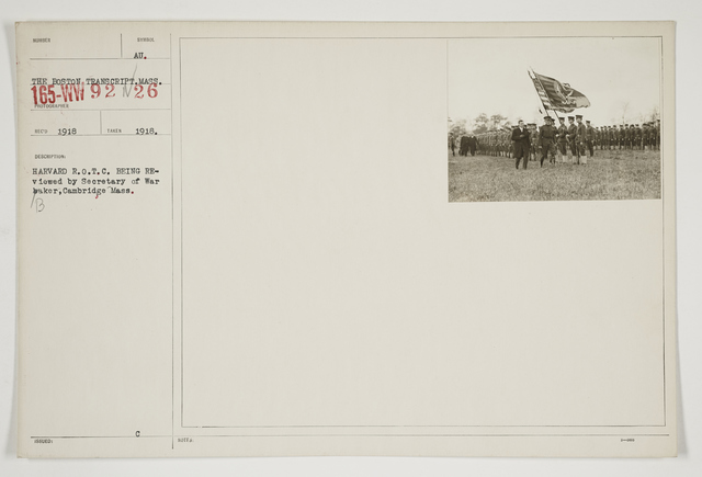 Ceremonies - Salutes and Parades - Massachusetts - Harvard R.O.T.C. being reviewed by Secretary of War Baker, Cambridge, Massachusetts