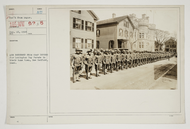 Ceremonies - Salutes and Parades - Massachusetts - Men returned from Camp Devens for Lexington Day Parade in their home town, New Bedford, Massachusetts