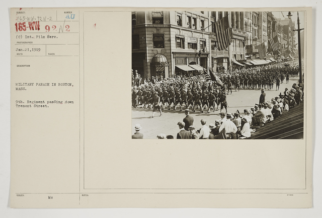 Ceremonies - Salutes and Parades - Massachusetts - Military parade in Boston, Massachusetts.  9th Regiment passing down Tremont Street