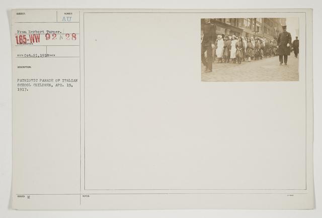 Ceremonies - Salutes and Parades - Massachusetts - Patriotic parade of Italian school children, April 19, 1917