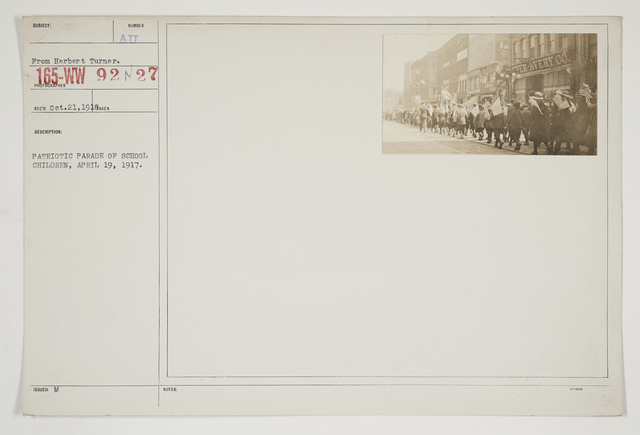 Ceremonies - Salutes and Parades - Massachusetts - Patriotic Parade of school children, April 19, 1917