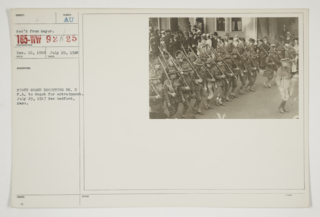 Ceremonies - Salutes and Parades - Massachusetts - State Guard escorting Battalion D. F. A. to depot for entrainment.  July 29, 1917 New Bedford, Massachusetts