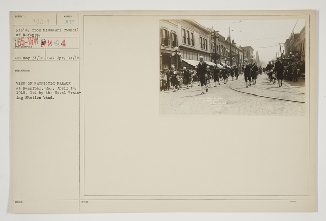 Ceremonies - Salutes and Parades - Missouri - View of Patriotic Parade at Hannibal, Mo., April 14, 1918, led by the Naval Training Station band